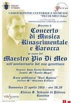 """Un """"Concerto di musica rinascimentale e barocca"""" ricorderà il M° Pio Di Meo nella chiesa di S. Antonio"""