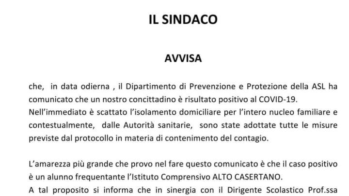 Rocca D'Evandro, alunno della scuola positivo al Covid-19