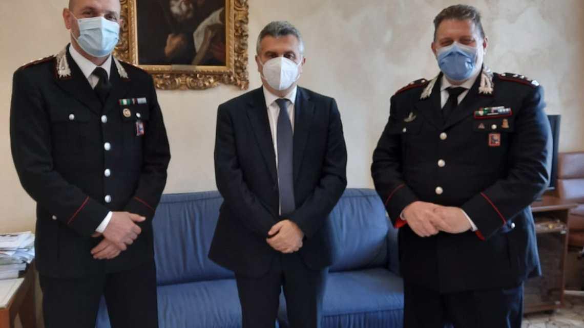 Visita istituzionale del comandante provinciale dei carabinieri in comune a Cassino