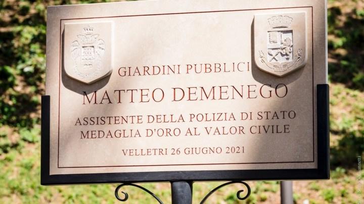 Velletri – Parco pubblico di via Marconi intitolato a Matteo Demenego