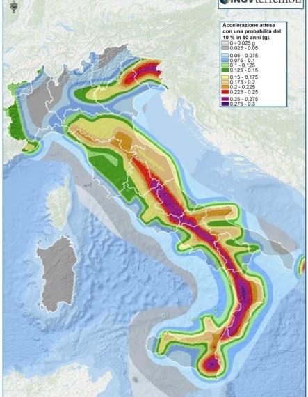 La Mappa della Pericolosità sismica - fonte: Istituto Nazionale di Geofisica e Vulcanologia