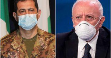 """De Luca: """"In Campania tutta l'estate con la mascherina. Basta beatificare Figliuolo, quantità pecoroni sconvolgente"""""""