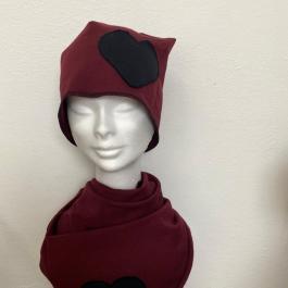 Set Cappello e sciarpa con cuore bordeaux/nero
