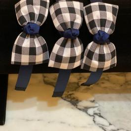 Cerchietto bimba blu a quadri