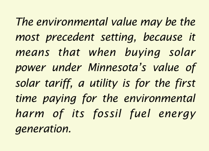 pull quote environmental value of solar Minnesota ILSR report