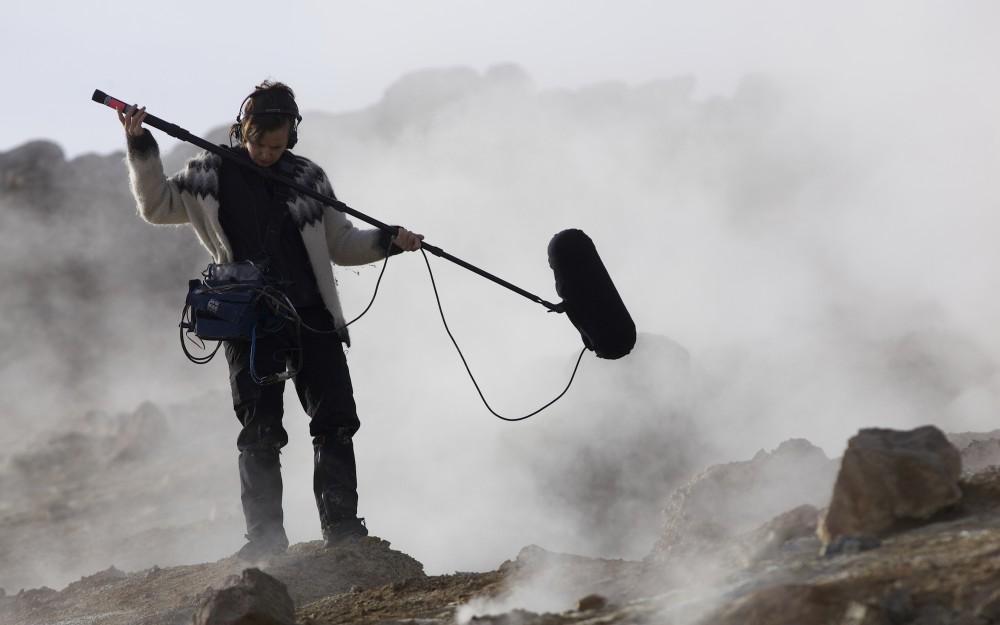 Jana Winderen - recording in Iceland 2014, photo credit Finnbogi Petursson