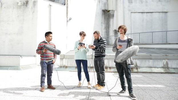 Eliel David Pérez Martínez, Eugenia Giannelli, e Matteo Amadio durante il workshop con Alessandro Sdrigotti per #ilsuonoinmostra - foto di Lara Carrer