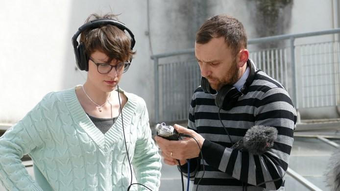 Eugenia Giannelli con Alessandro Sdrigotti durante il workshop di sound design a #ilsuonoinmostra - foto di Lara Carrer