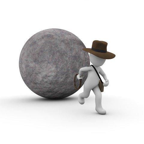 Rappresentazione di una delle prime scene del film ''Indiana Jones e i Predatori dell'Arca Perduta''