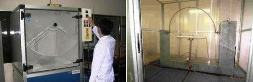 Cámaras especiales de ensayo para determinar los grados de mayor protección contra el ingreso de sólidos (izquierda) y líquidos (derecha) –Ingress Protection (IP) para luminarios. Fotos: Experto en Luminarios ©