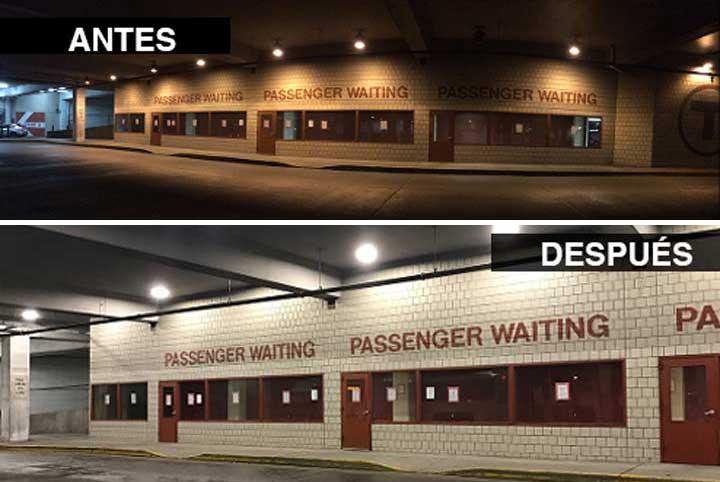 Resultado de imagen para estacionamiento con led antes y despues