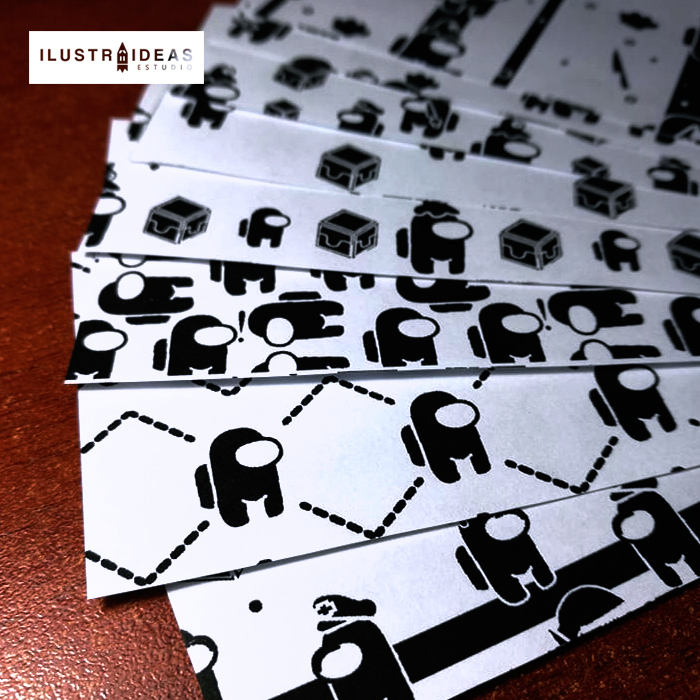 Papel Deco Blanco y Negro de Among Us
