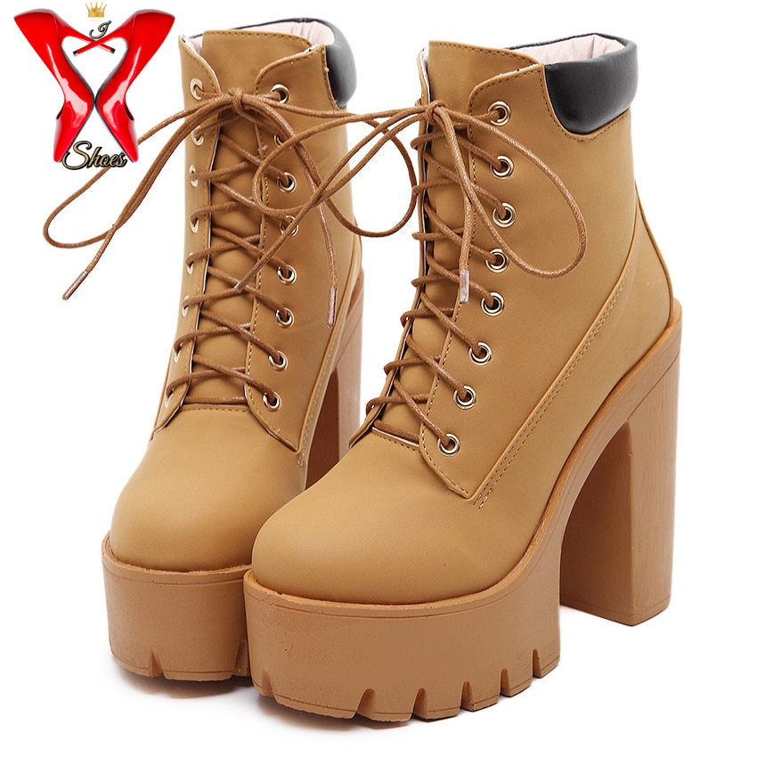 Fheaven Womens Fashion High Heel Lace Up Ankle Boots Ladies Buckle Platform Shoes