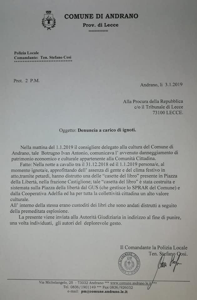 Atto vandalico a Castiglione d'Otranto frazione di Andrano(lecce)-foto