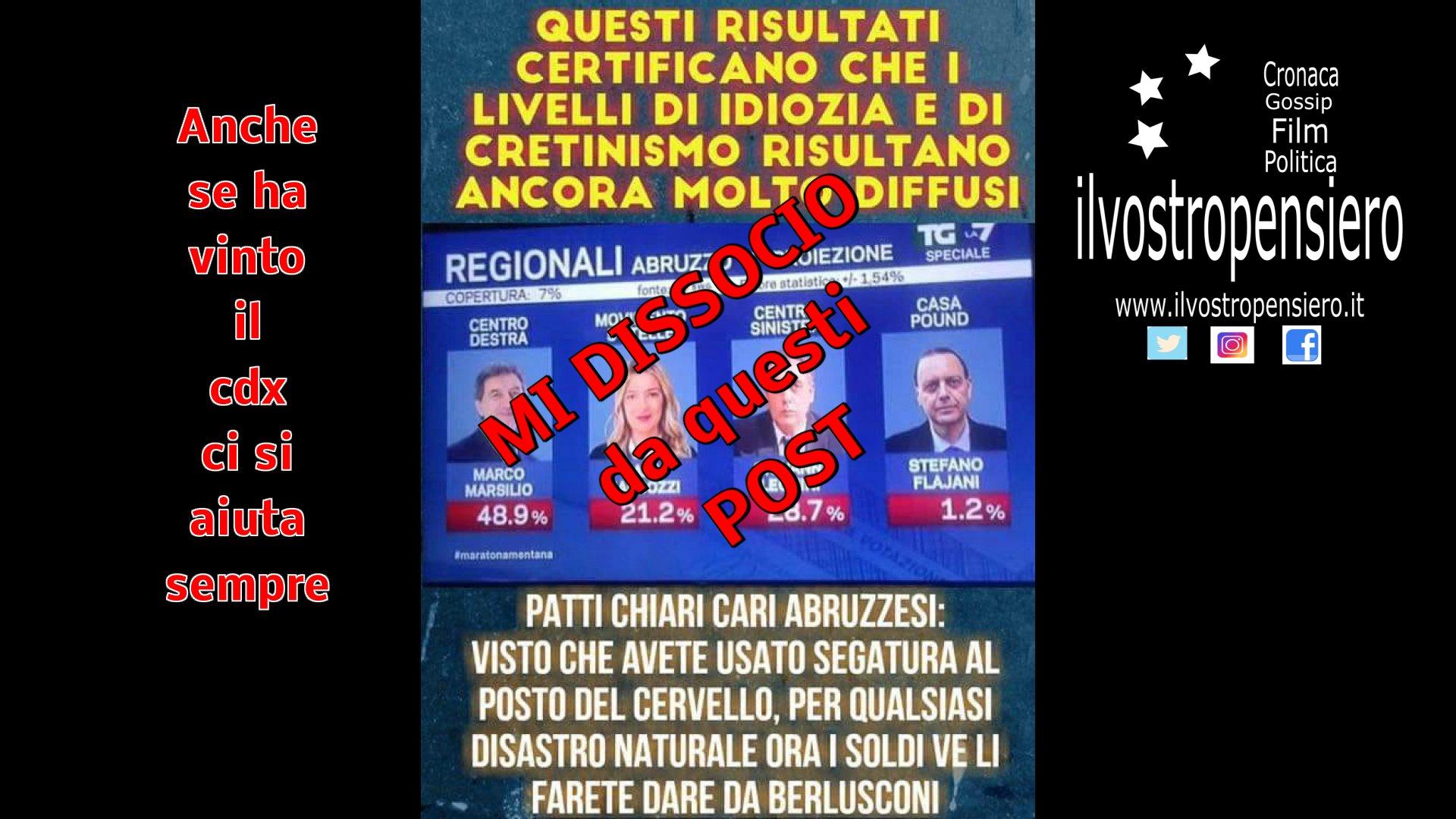 Web: girano post contro gli Abruzzesi per aver votato il Centro Destra