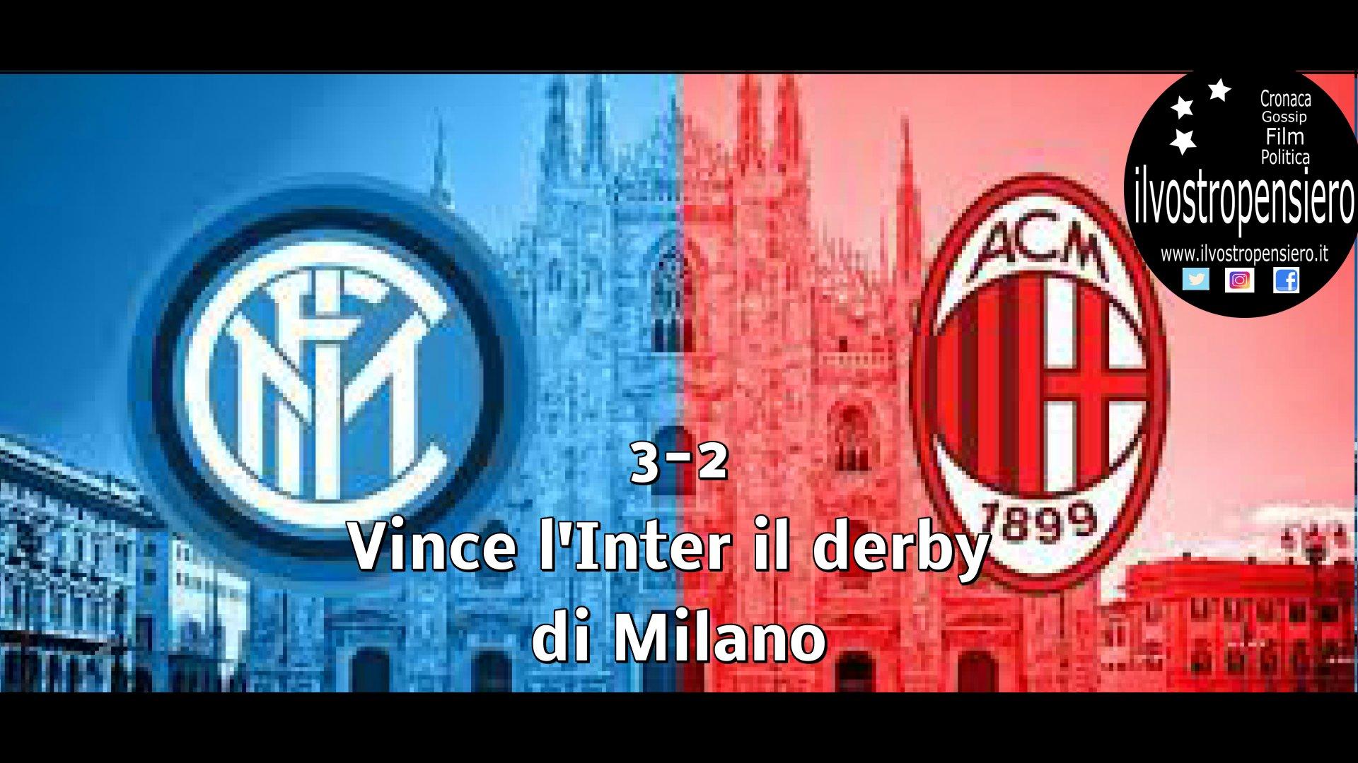 Derby di Milano lo vince l'Inter sul Milan per 3-2 (rigore inesistente guarda il video)