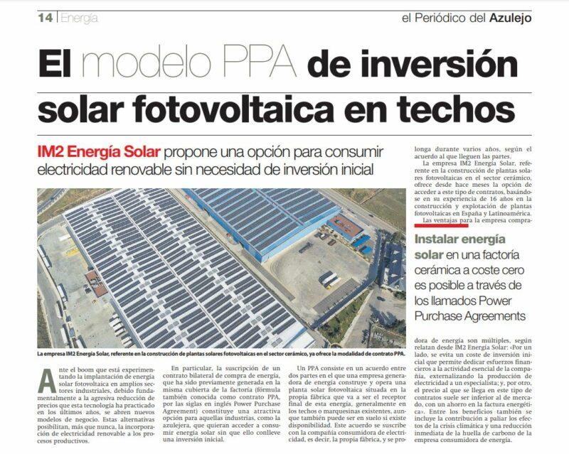 modelo PPA solar fotovoltaica
