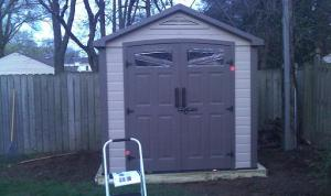 Shed with doors on