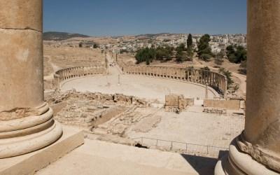 Forum Romanum vam de Romeinse ruïnes in Jerash Jordanië