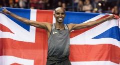 Sir Mo Farah celebrates after setting new British Record Birmingham 18th Feb 2017