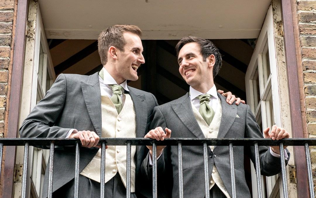 groom and best man wedding photographer Peterborough