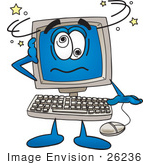 #26236 Clip Art Graphic Of A Desktop Computer Cartoon Character Crashing by toons4biz
