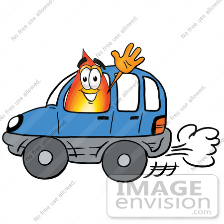 Image of a blogger in a car, waving