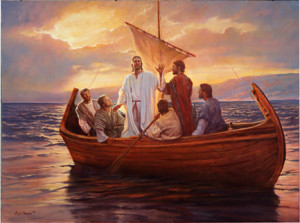 Jesús predicando en la barca