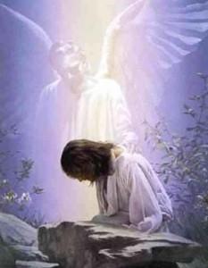 Jesús orando y acompañado por un ángel