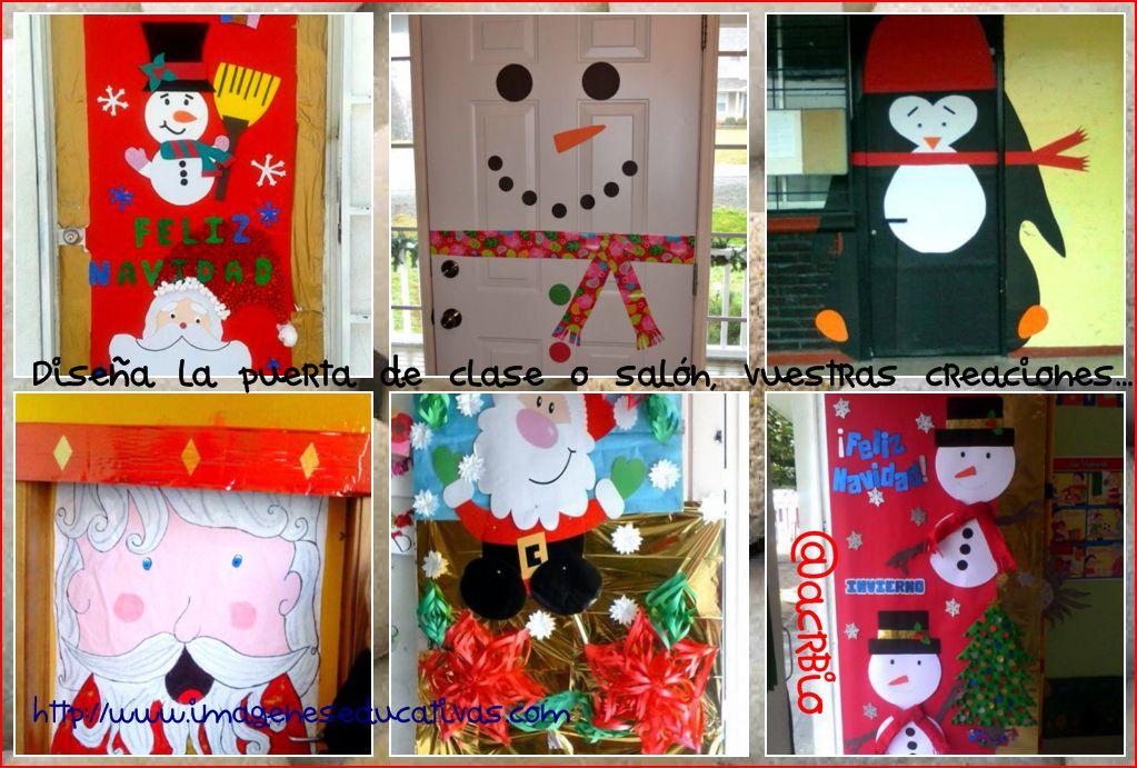 Dise a la puerta de tu clase o sal n vuestras creaciones for Decoracion de navidad para ventanas y puertas