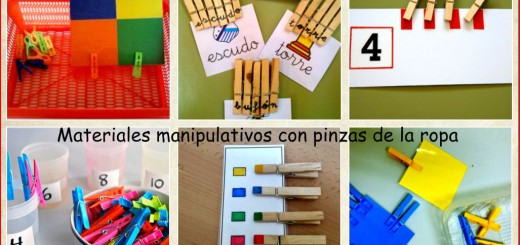 Materiales manipulativos con pinzas de la ropa collage