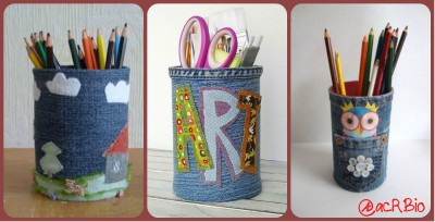 Portalapices con Jeans Collage