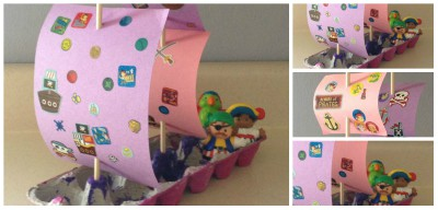 Barco pirata Cartones huevos Collage