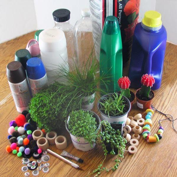 macetas recicladas con botellas de plastico