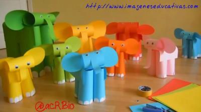 Elefantes con folios de colores