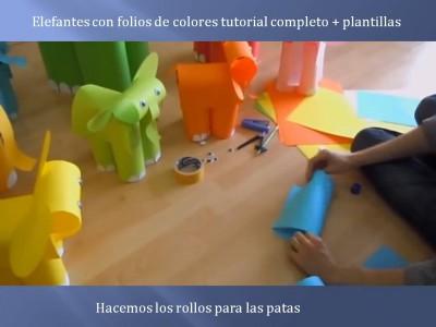 Elefantes con folios de colores tutorial