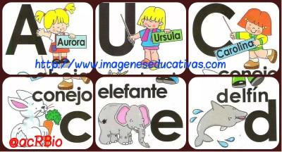 Abecedario Niños y Animales. Fichas imprimibles collage