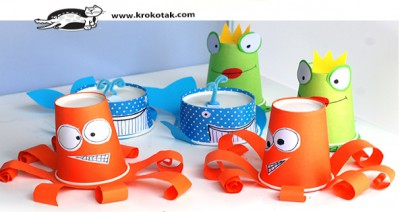 Monstruos y animales con vasos y tarrinas de papel