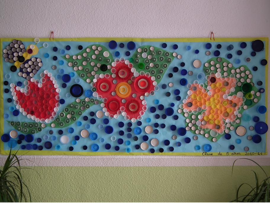 Murales con tapones de pl stico 1 imagenes educativas - Murales con fotos ...