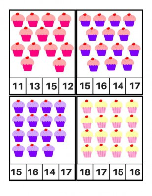 Tarjetas para aprender los números, Motivos Cupcakes (6)