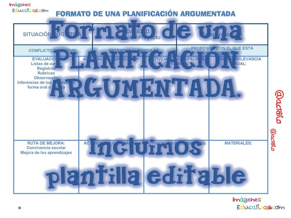 FORMATO DE UNA PLANIFICACIÓN ARGUMENTADA Portada - Imagenes Educativas