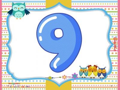 Números 1 al 9 Motivo Búhos (9)