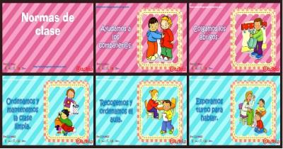 Normas para infantil, Preescolar y Primaria. Imprimibles Azul Portada