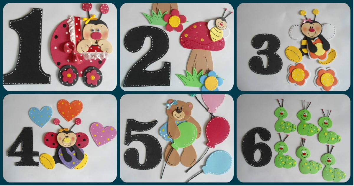 Números Decora Con Foami Platillas Y Moldes Incluidos