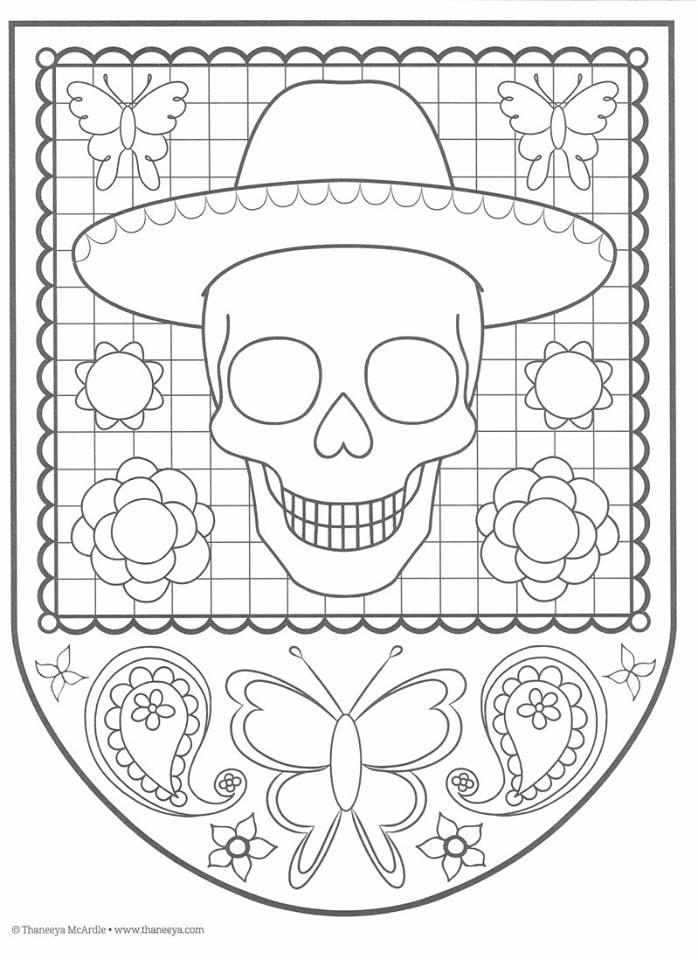 Excepcional Día Imprimible De Los Muertos Para Colorear Regalo ...