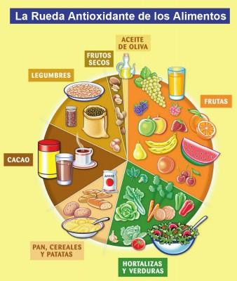 Rueda de alimentos antioxidantes