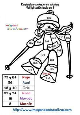 Coloreamos por colores Respasamos las tablas de multiplicar (2)