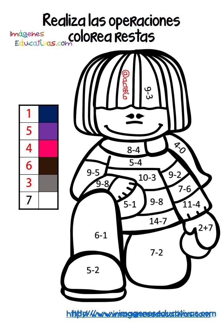Coloreamos por colores Sumas y Restas. Nos divertimos aprendiendo ...