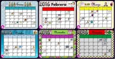 Calendario 2016 con efemérides incluidas. Listo para descargar e imprimir Portada