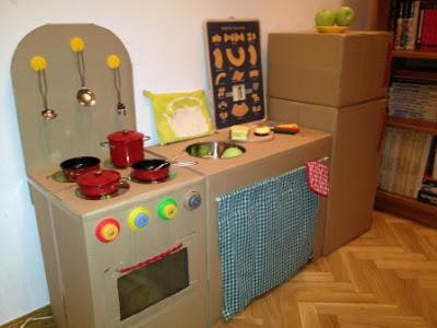 20 nuevas ideas para hacer cocinas de cart n para ni os y - Cajas para cocina ...